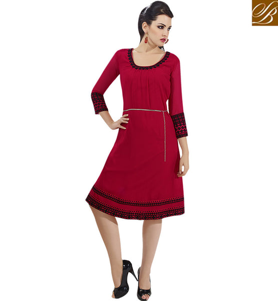 BROUGHT TO YOU BY STYLISH BAZAAR PREMIUM RED DESIGNER KURTI FOR SPECIAL EVENTS VDSCH3012