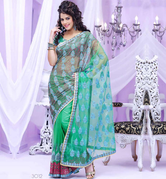 ENTHRALLING GREEN NET PARTY WEAR SAREE RTBRE3012