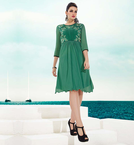 BUY BEAUTIFUL KURTI DESIGNS PAY CASH ON DELIVERY SUPERB SEA GREEN GEORGETTE PARTY WEAR TOP