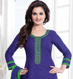 GOOD LOOKING MONICA BEDI OFFICE WEAR DRESS BLUE AND GREEN CHANDERI COTTON SALWAR KAMEEZ