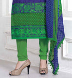 BLUE AND GREEN CHANDERI COTTON SALWAR KAMEEZ LATEST BOLLYWOOD CELEBRITY DRESSES EXCLUSIVE LOOK