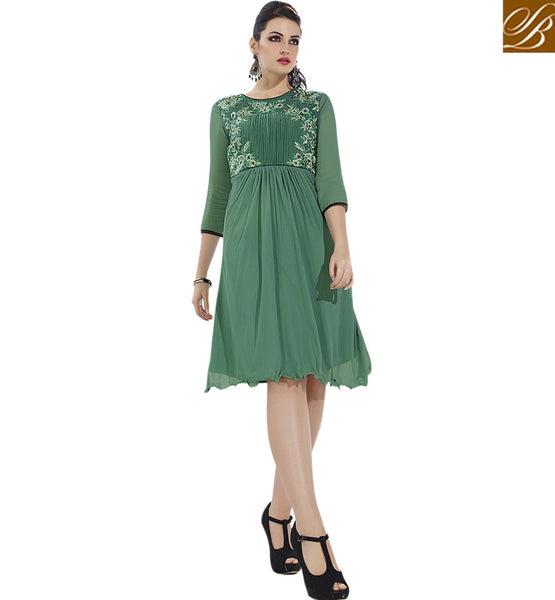 STYLISH BAZAAR PRESENTS APPEALING DESIGNER GREEN PARTY WEAR KURTI VDSCH3013