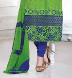 STYLISH GREEN AND BLUE CHANDERI COTTON SALWAR SUIT INDIAN CELEBRITY DRESSES ORIGINAL COLLECTION