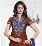 INDIAN MOVIE CELEB MONICA BEDI DESIGNER SALWAR KAMEEZ DESIGNER BROWN TOP WITH CONTRAST BLUE CHURIDAR AND EXCITING DUPATTA