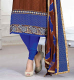 DESIGNER BROWN TOP WITH CONTRAST BLUE CHURIDAR AND EXCITING DUPATTA LATEST BOLLYWOOD DRESS DESIGNS FANCY NECKLINE