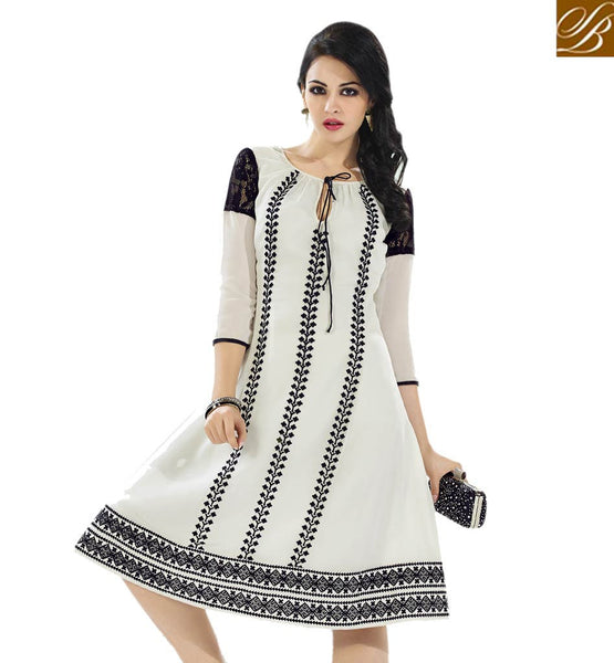 A STYLISH BAZAAR PRESENTATION DELIGHTFUL KURTI DESIGN ESPECIALLY FOR PARTIES VDSCH3017