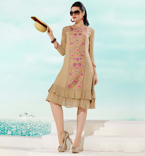 HIGH QUALITY DESIGNER KURTIS ONLINE SHOPPING STYLISH BAZAAR BEIGE GEORGETTE TOP WITH SANTOON INNER