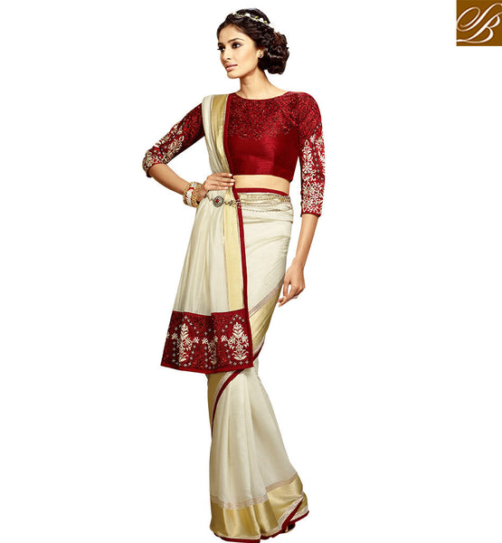 ENTHRALLING EMBROIDERED DESIGNER SARI BLOUSE DESIGN HAW301 BY OFF WHITE