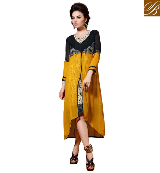 STYLISH BAZAAR DELIGHTFUL MID SLIT DESIGNER PARTY WEAR KURTI DESIGN RTBLM301