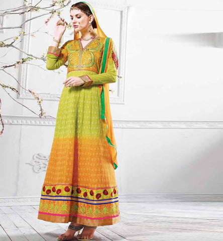 DESIGNER WEDDING CLOTHING FOR WOMEN SHADED PURE GEORGETTE ANARKALI