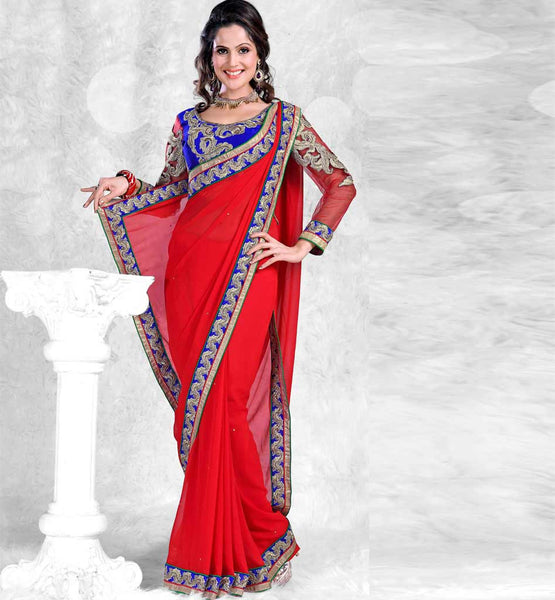RAVISHING RED PARTY WEAR SARI RTCHA301