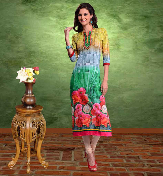LATEST LADIES KURTI DESIGNS TO WEAR WITH CHURIDAR YELLOW, GREY & GREEN PRINTED COTTON LONG KURTI