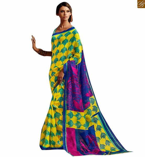 Image of Latest saree design 2015 best style of attractive blouse model yellow-blue bhagalpuri-silk new collection of printed saree with blue silk designer blouse