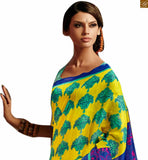 Image of Exclusive and latest saree design 2015 paired with trendy blouse model for daily use yellow-blue bhagalpuri-silk new collection of printed saree with blue silk designer blouse