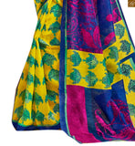 Image of Yellow-blue bhagalpuri-silk new collection of printed saree with blue silk designer blouse