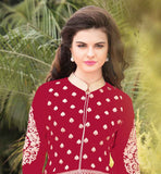 IRRESISTIBLE PATTERN GEORGETTE SUIT WITH SANTOON SALWAR AND CHIFFON DUPATA Wear this superb dress with embroidered design on salwar, sleeves and all over the Kameez