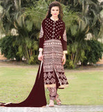 SALWAR SUIT LATEST FASHION LOVELY NECK DESIGN EYE-CATCHING DESIGN GEORGETTE DRESS WITH SANTOON SALWAR AND CHIFFON DUPATA