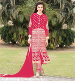 PURCHASE DESIGNER SALWAR KAMEEZ SUITS ONLINE  PEPPY PINK GEORGETTE KAMIZ WITH ADORNED SANTOON BOTTOM AND EXCITING DUPATTA