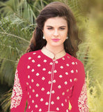 PEPPY PINK GEORGETTE KAMIZ WITH ADORNED SANTOON BOTTOM AND EXCITING DUPATTA Wear this superb dress with embroidered design on salwar, sleeves and all over the Kameez