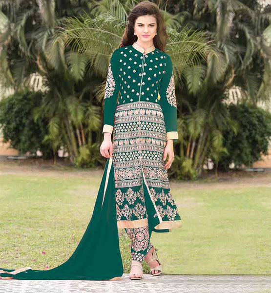 BEAUTIFUL SALWAR KAMEEZ DESIGNER COLLECTION  NEW 2015 FASHION GREEN GEORGETTE TOP WITH MATCHING SALWAR AND DUPATTA