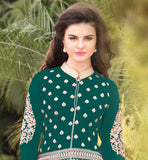 NEW 2015 FASHION GREEN GEORGETTE TOP WITH MATCHING SALWAR AND DUPATTA Wear this superb dress with embroidered design on salwar, sleeves and all over the Kameez