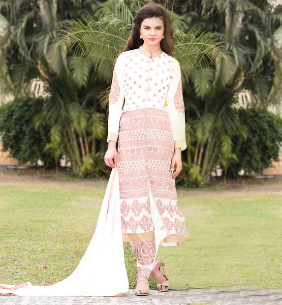 STYLISH BAZAAR PARTY WEAR SALWAR KAMEEZ SUITS  WONDERFUL WHITE DESIGNER GEORGETTE KAMEEZ WITH EMBELLISHED SHALWAR AND MATCHING ODHNI