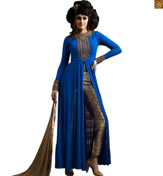NAKKASHI DESIGNER ROYAL BLUE SALWAAR KAMEEZ NKS3021 FROM STYLISH BAZAAR