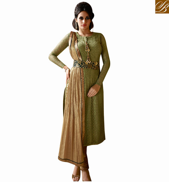 STYLISH BAZAAR STUNNING PISTA GREEN NET DESIGNER STRAIGHT CUT SALWAR KAMEEZ WITH FULL SLEEVES NKIMT3027
