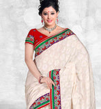 PRETTY CREAM PARTY WEAR SARI RTCHA302
