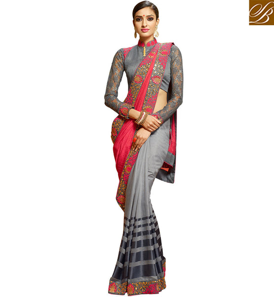 ENTICING GREY EMBROIDERED FLORAL DESIGN SARI DESIGN HAW302 BY GREY & PINK