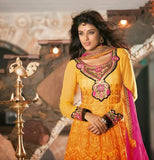 Orange Faux Georgette Salwar kameez with Heavy Embroidery,Patch Work and Lace Work 1290
