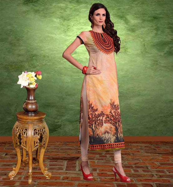 DESIGNER LONG COTTON KURTIS FROM STYLISH BAZAAR SUPERLATIVE ORANGE COMFORTABLE AND STYLISH KURTI