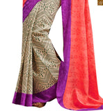 Image of Peach and off-white bhagalpuri silk indian casual wear saree with purple designer silk blouse online shopping