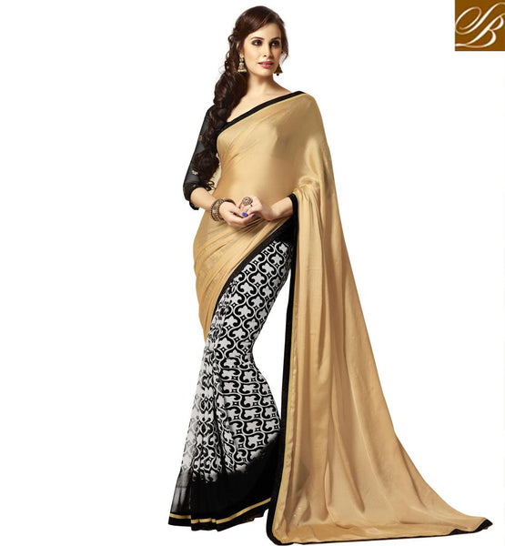 SAREE BLOUSE DESIGNS 2015 NEW FASHION COLLECTION CHIKOO WITH OFF-WHITE AND BLACK  PRINTED DESIGNER SARI