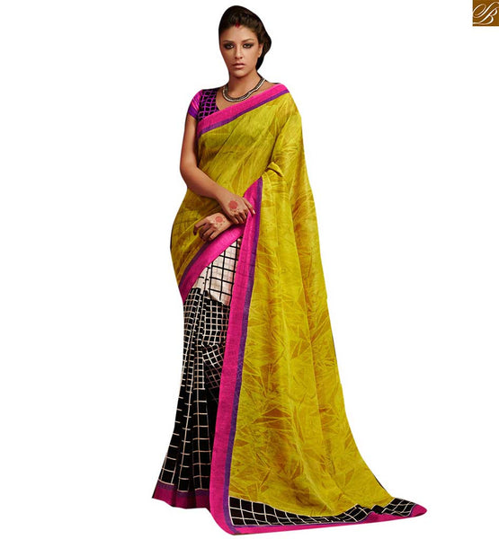 image of Indian women saree with magnificent blouse designs with border yellow and black bhagalpuri silk indian checks printed saree with black and purple silk blouse