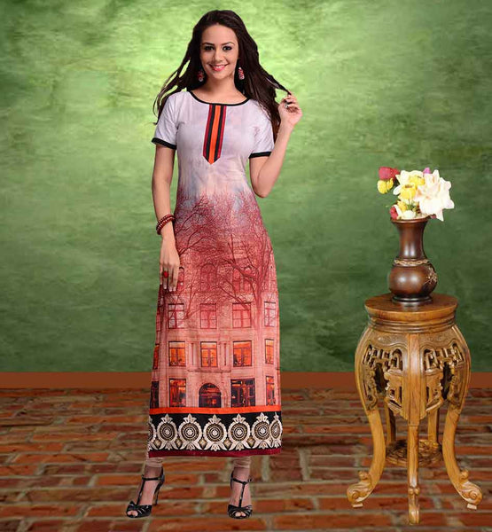 PURCHASE ONLINE COTTON KURTIS FOR COLLEGE GIRLS EXCELLENT OFF-WHITE AND DUSTY PINK COTTON LONG KURTI WITH SMART PRINT WORK