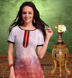 EXCELLENT OFF-WHITE AND DUSTY PINK COTTON LONG KURTI WITH SMART PRINT WORK BE COMFORTABLE WITH THIS TRENDY PRINTED COTTON MATERIAL LONG KURTI