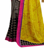 Image of Yellow and black bhagalpuri silk indian checks printed saree with black and purple silk blouse