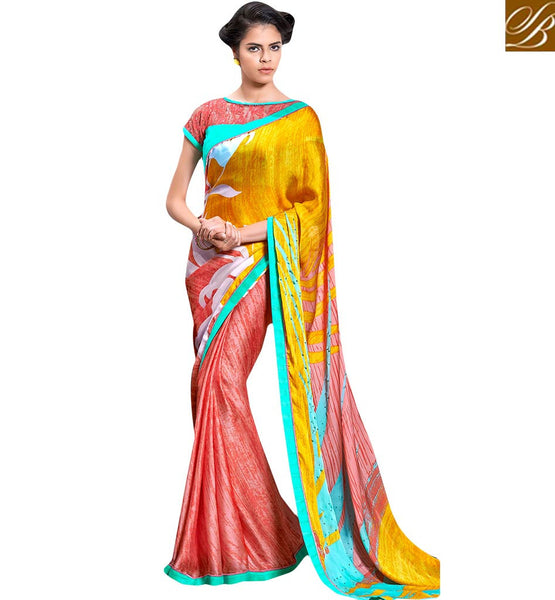 STYLISH BAZAAR ALLURING PRINTED SARI DESIGN FOR PARTIES RTMEN304