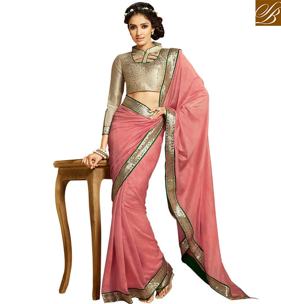 FASCINATING PARTY WEAR DESIGNER SARI BLOUSE DESIGN HAW304 BY PEACH