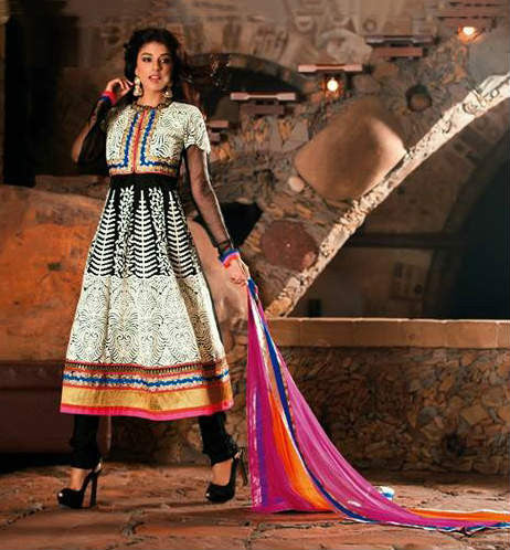 Black and White Faux Georgette and Net Salwar kameez with Embroidery and Lace Work 1292