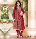 BUY KARACHI DRESS FOR WOMEN ONLINE IN INDIA GOOD-LOOKING RED NEW FASHION KAMEEZ WITH OVERALL ZARI WORK AND EMBROIDERY