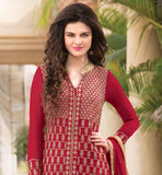 GOOD-LOOKING RED NEW FASHION KAMEEZ WITH OVERALL ZARI WORK AND EMBROIDERY LOOK AT YOUR BEAUTIFUL BEST BY GETTING DRESSED IN THIS EXCITING GEORGETTE ATTIRE