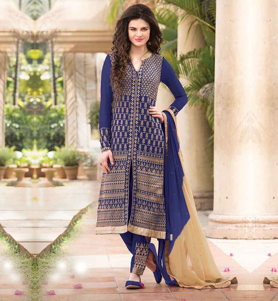 STYLISH SALWAR WITH EMBROIDERY AND FANCY KAMEEZ PRETTY DARK BLUE PARTY WEAR GEORGETTE KAMEEZ WITH EMBROIDERED SALWAR AND SHADED ODHNI