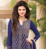 PRETTY DARK BLUE PARTY WEAR GEORGETTE KAMEEZ WITH EMBROIDERED SALWAR AND SHADED ODHNI  PARTY WEAR SALWAR KAMEEZ