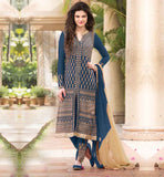 SHOP ONLINE DESIGNER PARTY WEAR KARACHI SUITS APPEALING GEORGETTE KAMEEZ WITH EXCITING NECK DESIGN AND RICH OVERALL EMBROIDERY WORK