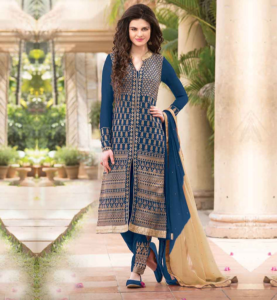 PARTY WEAR PUNJABI SUITS BY STYLISH BAZAAR BEAUTIFUL BLUE GEORGETTE KAMEEZ WITH SANTOON INNER-SALWAR AND SHADED CHIFFON DUPATTA
