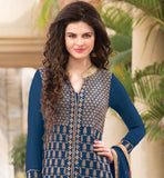 BEAUTIFUL BLUE GEORGETTE KAMEEZ WITH SANTOON INNER-SALWAR AND SHADED CHIFFON DUPATTA OVELY DESIGNER INDIAN WOMEN'S PARTY WEAR SALWAR KAMEEZ MADE FROM BEAUTIFUL GEORGETTE FABRIC