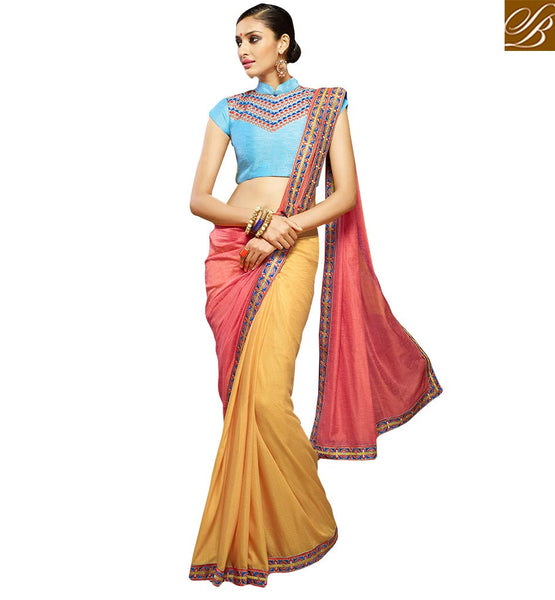 GOOD-LOOKING EMBROIDERED PARTY WEAR SAREE DESIGN HAW305 BY YELLOW