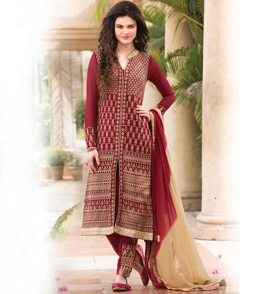 PARTY WEAR SHERWANI STYLE SALWAR KAMEEZ SUITS WITH SHADED DUPATTA